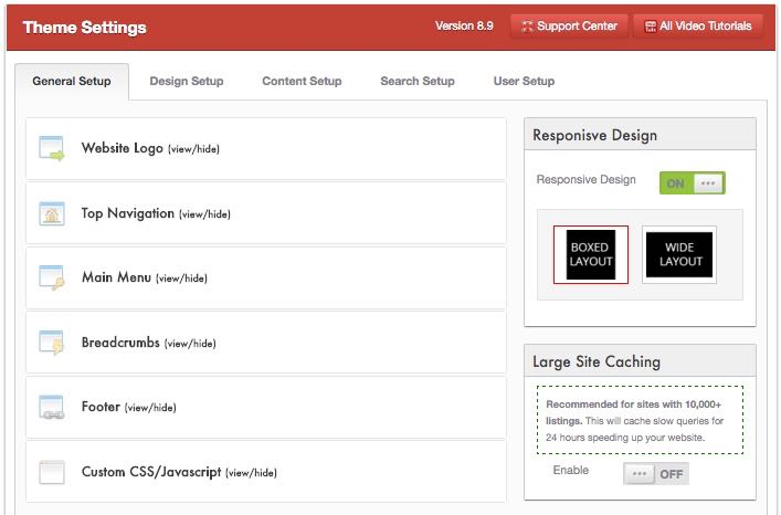 Admin Panel Options Classifieds Directory Theme