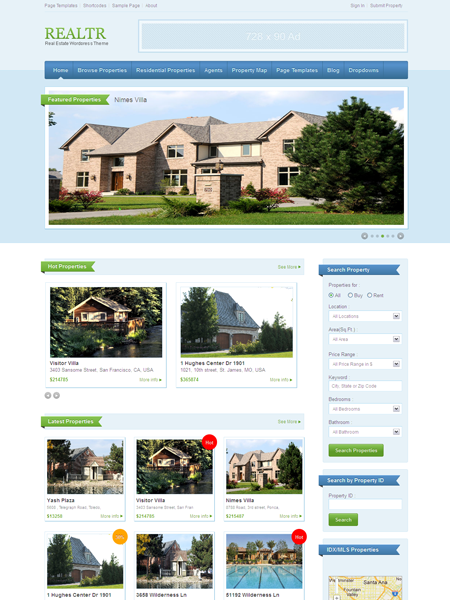Realtr WordPress Theme for Real Estate Company or Agents