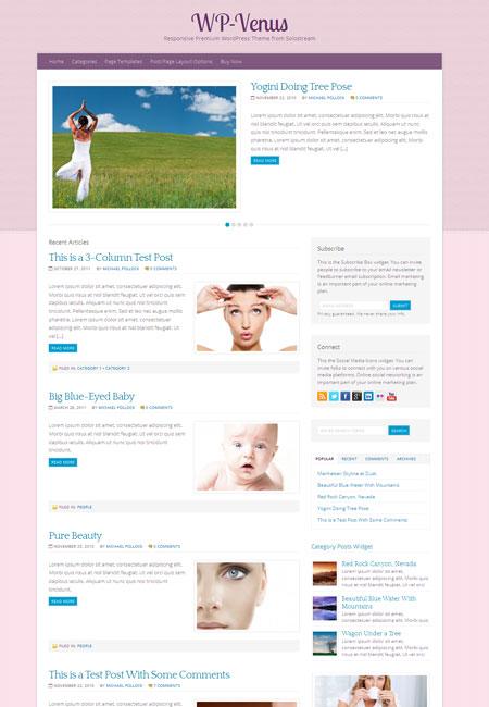 WP Venus Theme for Beauty Care Magazine Websites