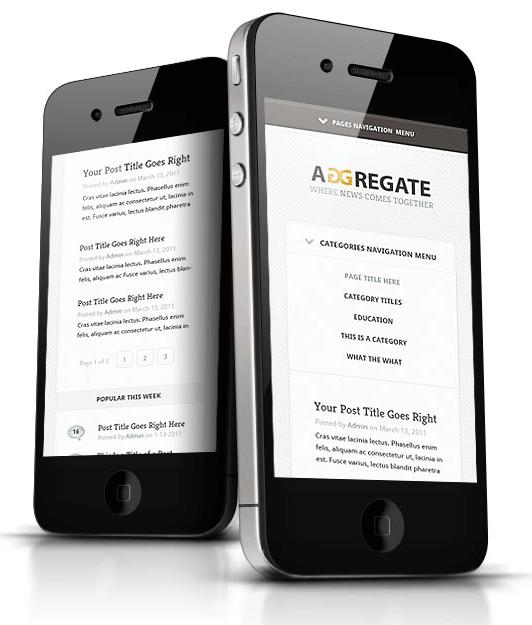 Aggregate WordPress Theme for iPhone
