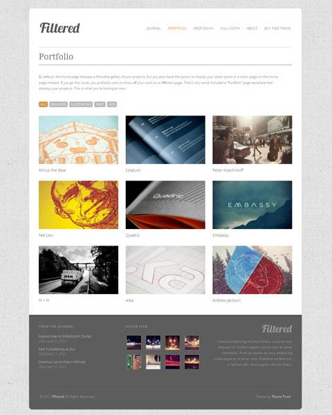 Filtered 2.0 Responsive WordPress Theme for Portfolio Page
