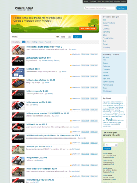 Pricerr WordPress Theme for Create MicroJob like Fiverr.com Site