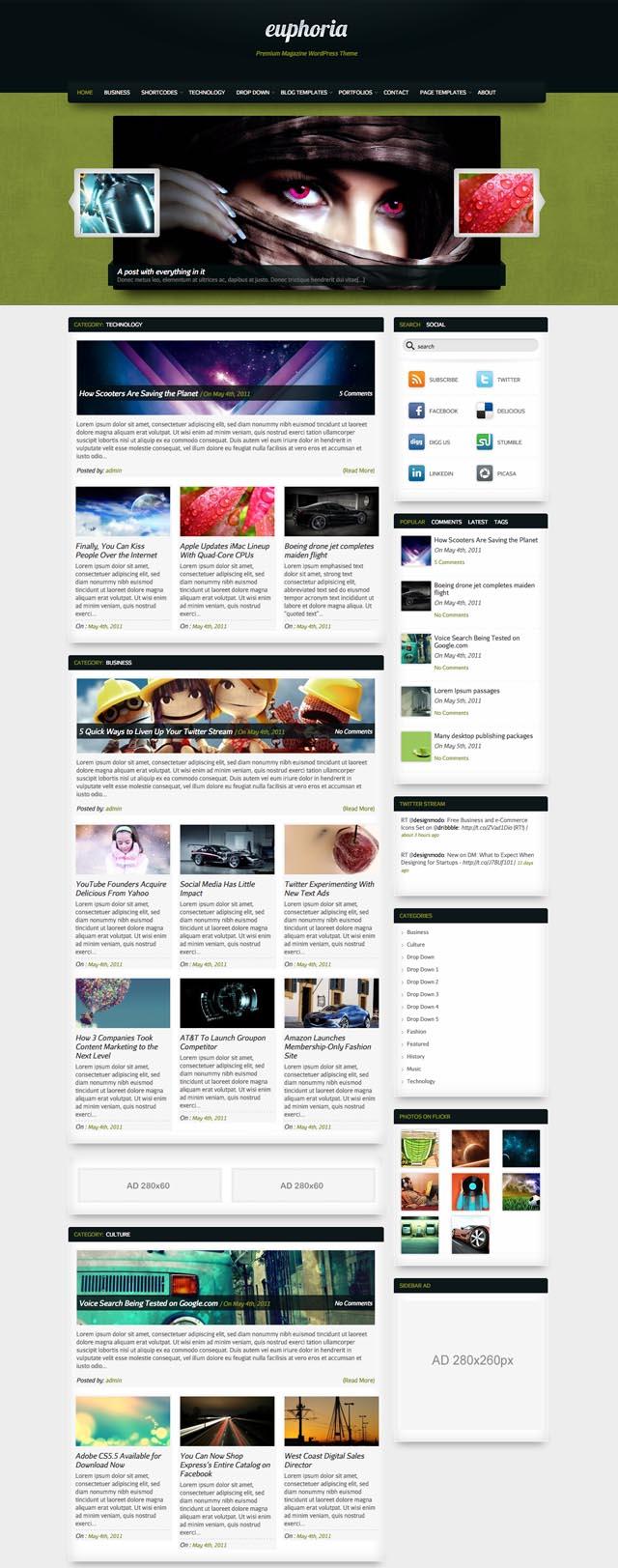 Euphoria WordPress Magazine Style Theme