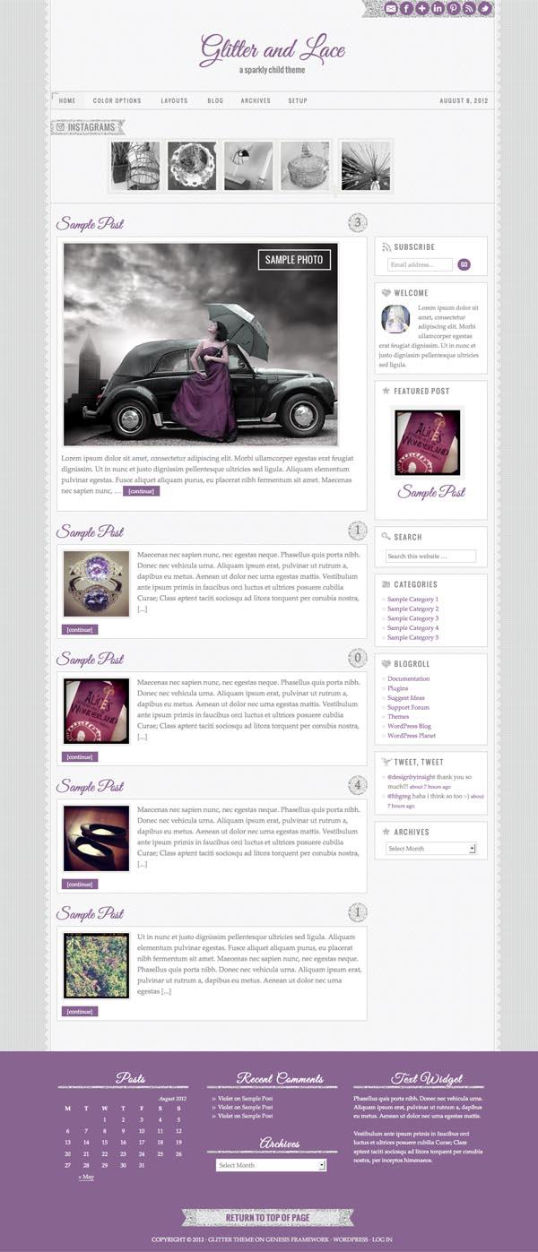 Glitter and Lace Responsive WordPress Theme