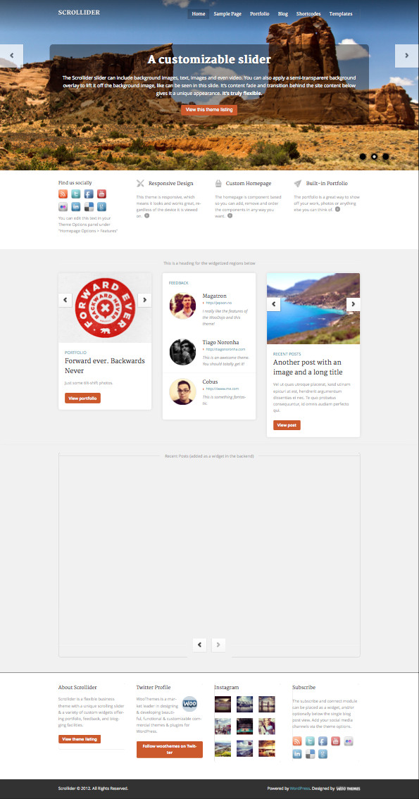 Scrollider WordPress Responsive Theme