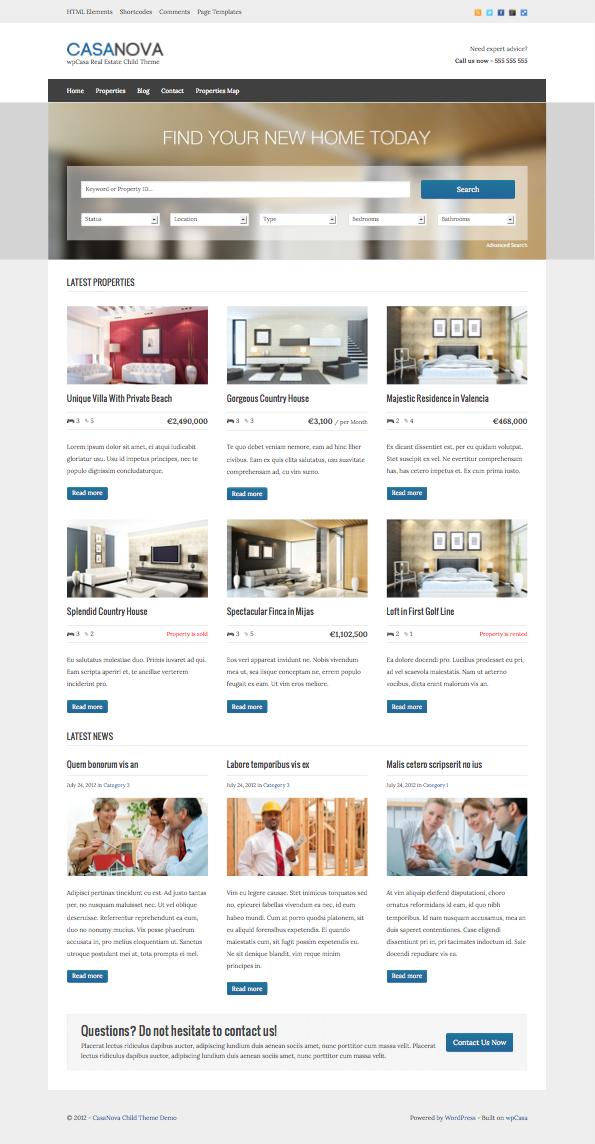 CasaNova WordPress Real Estate Theme