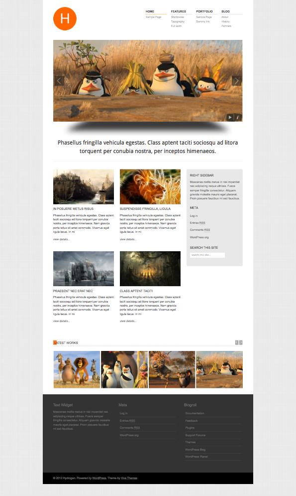 Hydrogen Responsive Portfolio WordPress Theme