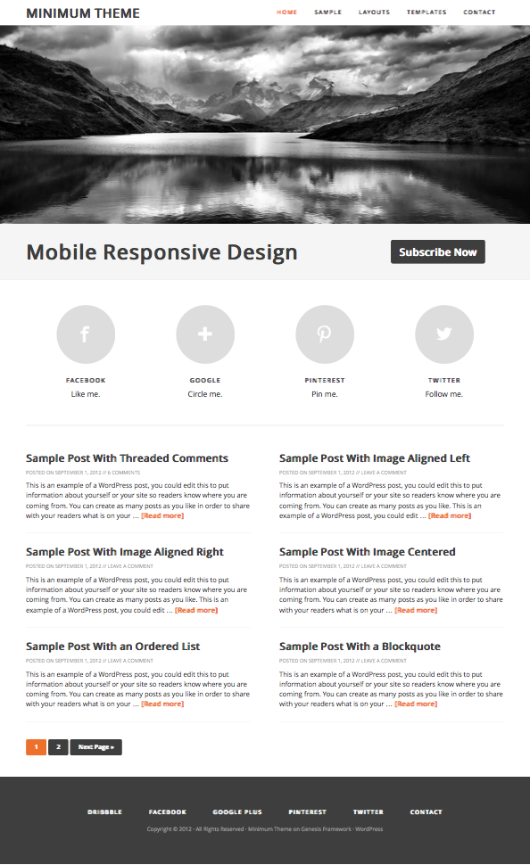 Minimum 2.0 Responsive WordPress Theme
