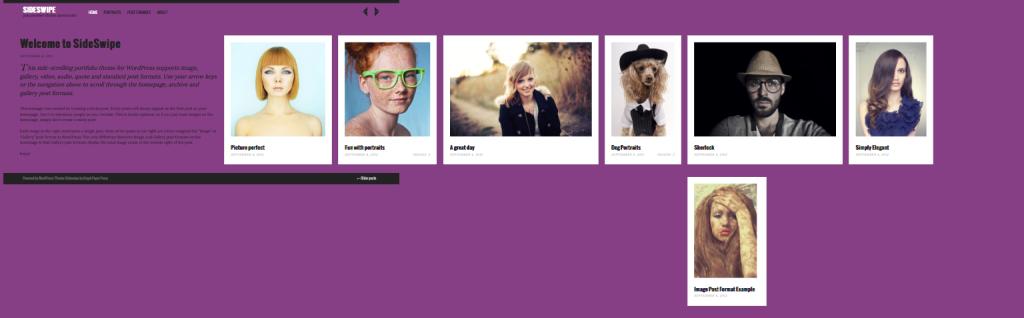 Sideswipe WordPress Side-Scrolling Portfolio Theme