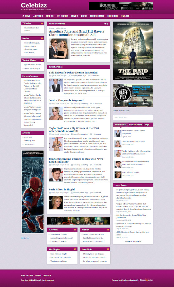 Celebizz WordPress Celebrity Gossips Theme