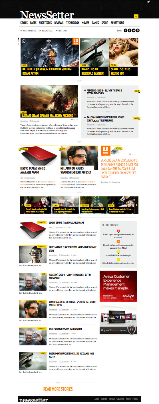 NewsSetter WordPress Technology Reviews Blog Theme