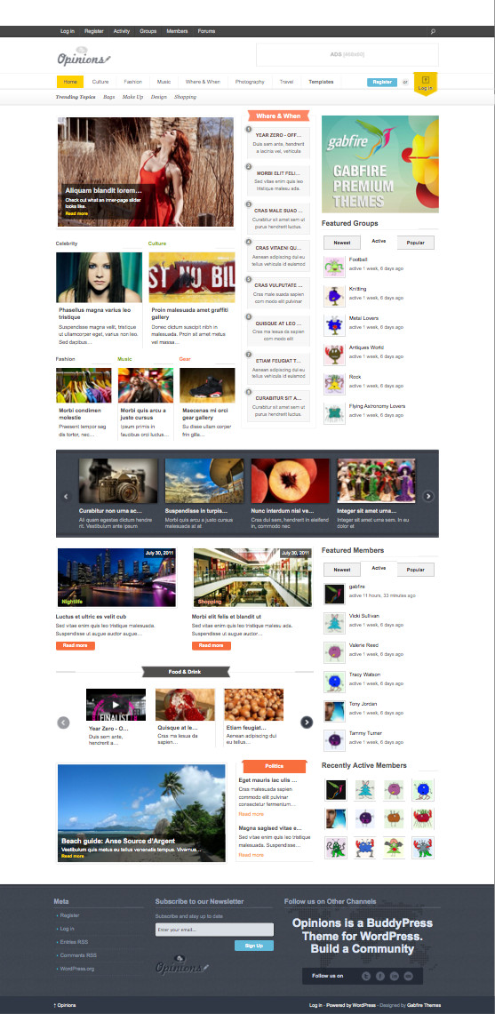 Opinions Responsive BuddyPress WordPress Theme