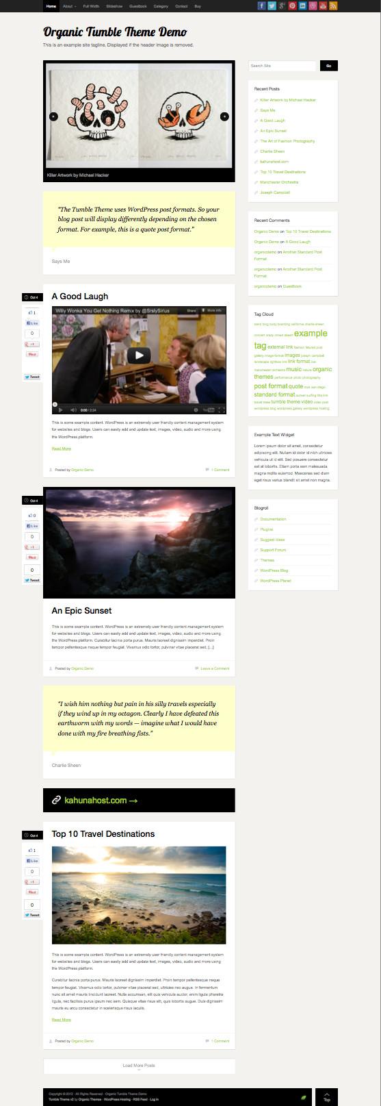 The Tumble v2 Responsive WordPress Tumblr Like Theme