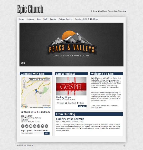 Epic Responsive WordPress Churches Theme