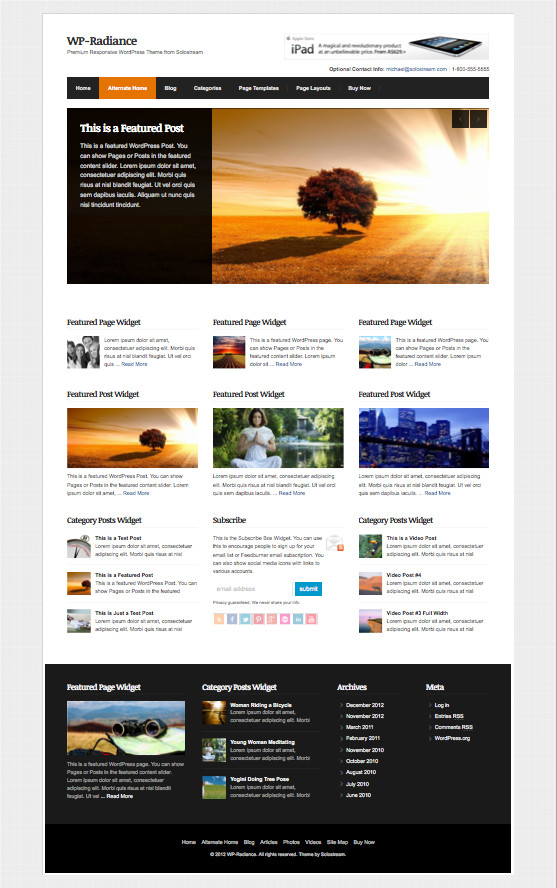 WP Radiance Responsive Business Theme
