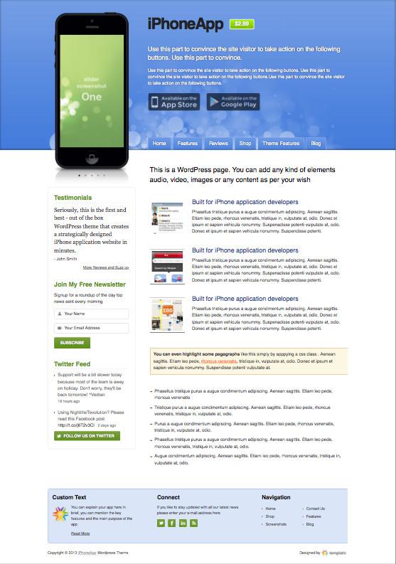 iPhone App 2 WordPress Store Theme