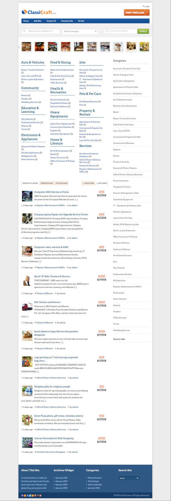 ClassiCraft WordPress Classified Ad Listing Theme