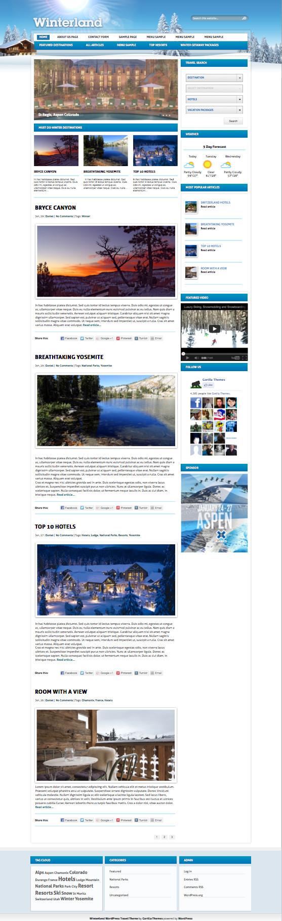 Winterland WordPress Travel Magazine Theme