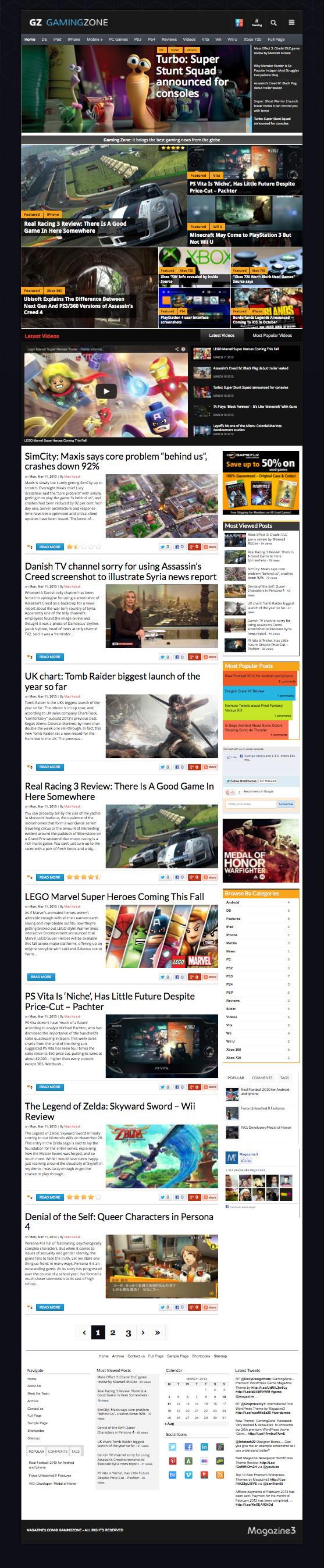 GamingZone WordPress Game Magazine Theme