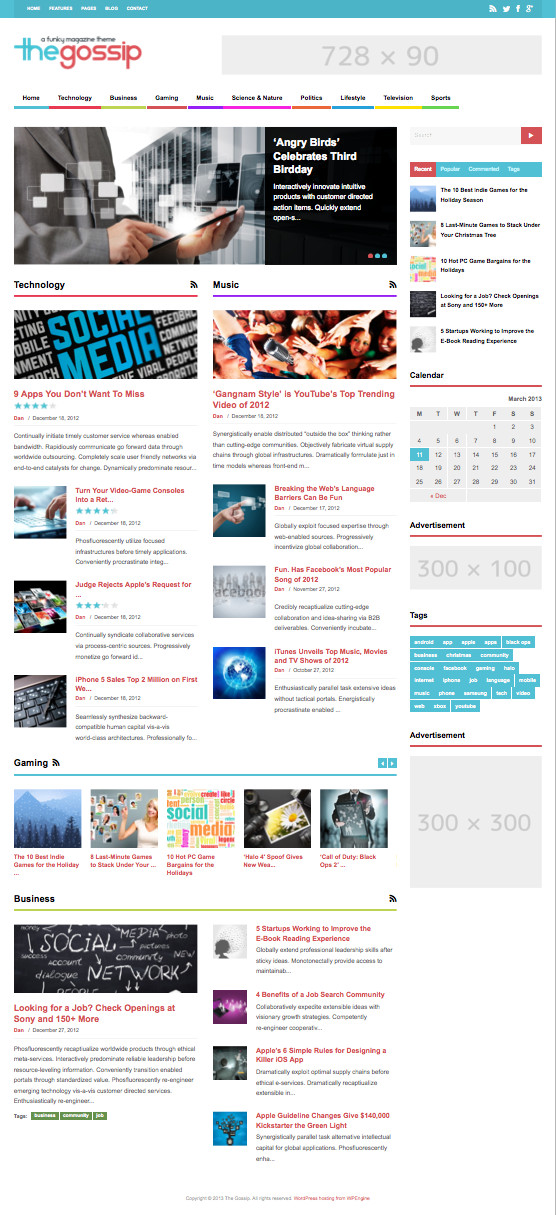 The Gossip Ultra-wide WordPress Magazine Theme