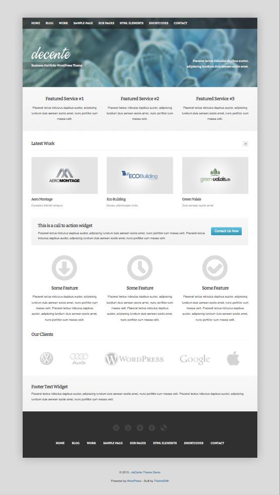 deCente Free WordPress Business Portfolio Theme