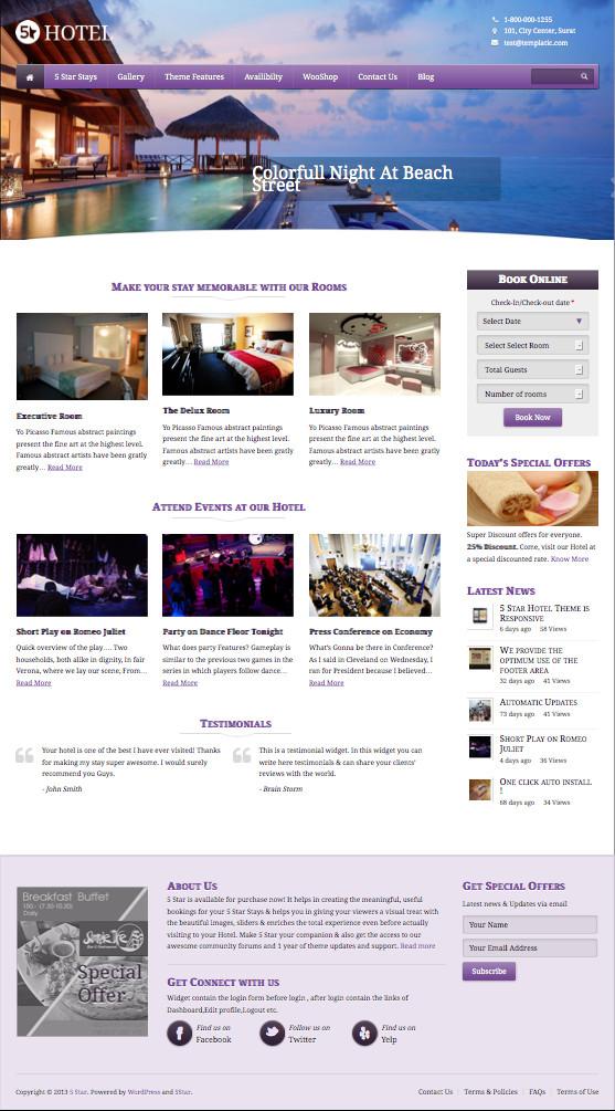 5 Star WordPress Hotel Booking Theme