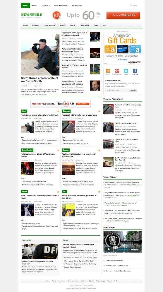Newswire v2.0 WordPress News Theme