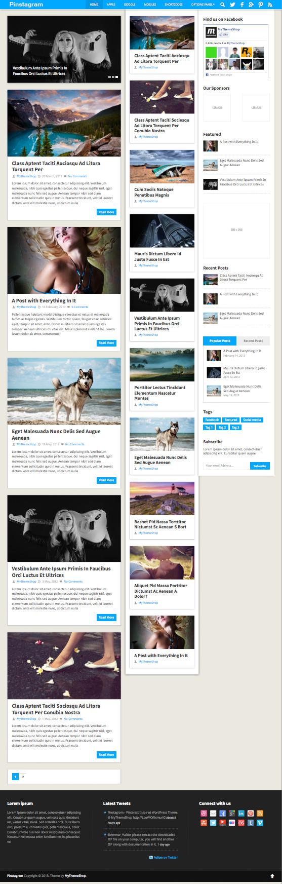 Pinstagram WordPress Grid Box Layout Theme