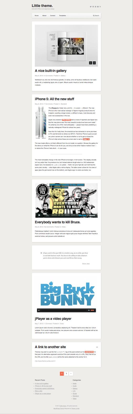 Little Responsive WordPress Personal Writers Theme