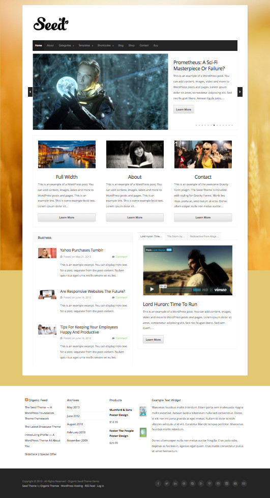 Seed Responsive WordPress Versatile Theme