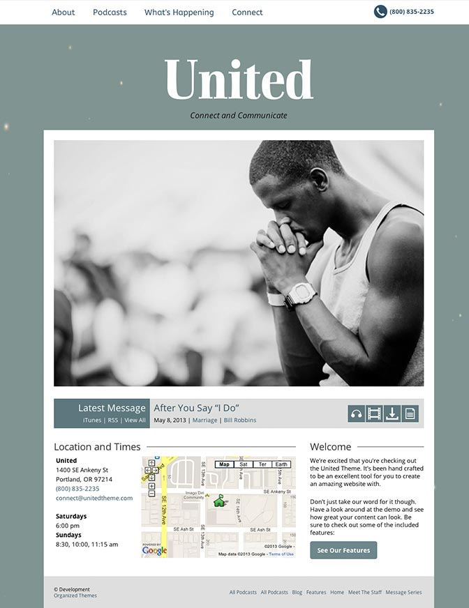 United WordPress Churches Theme