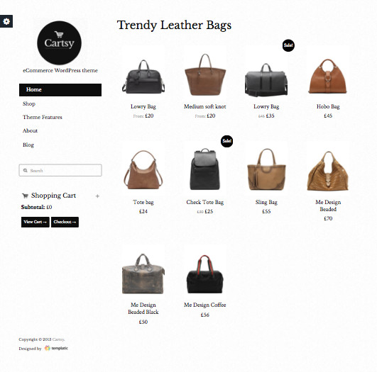Cartsy WordPress Stylish e-Commerce Theme