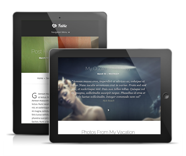 Fable Responsive Tablet WordPress Blog Theme