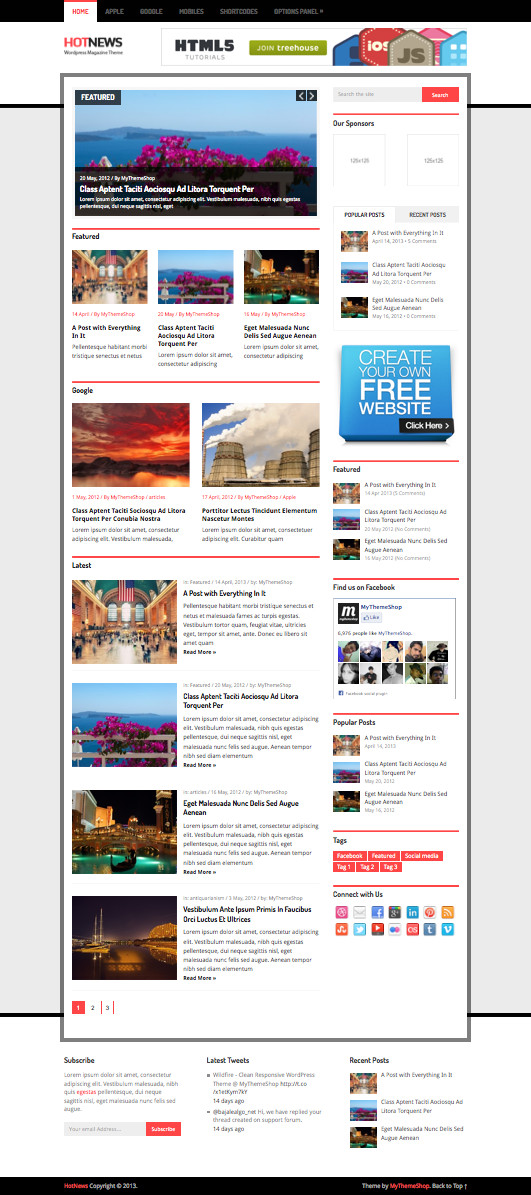 HotNews Responsive WordPress Magazine News Theme