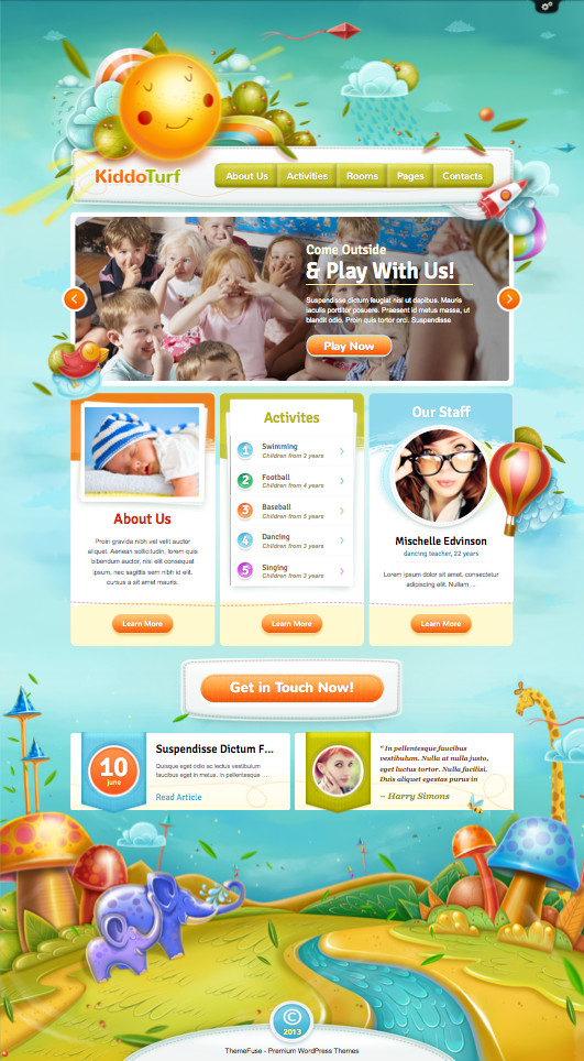 KiddoTurf WordPress Kindergarten Theme for Kids