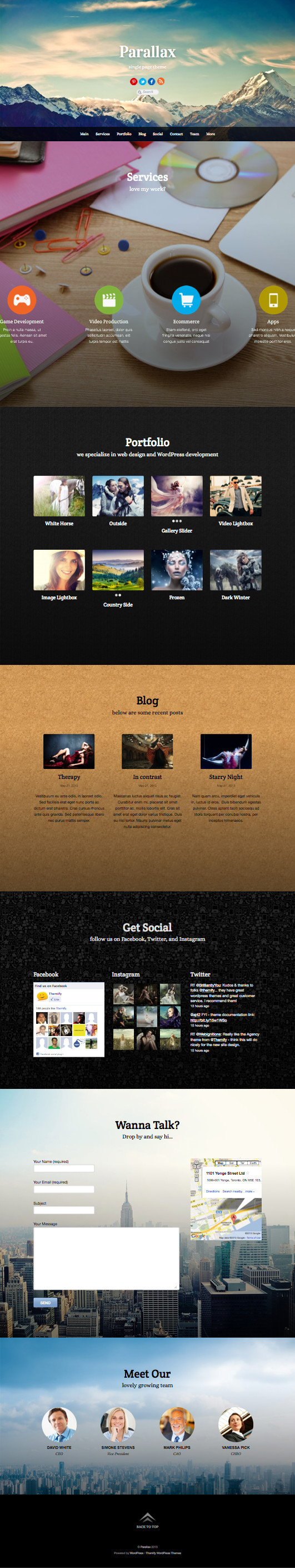 Parallax WordPress Single Page Scrolling Theme