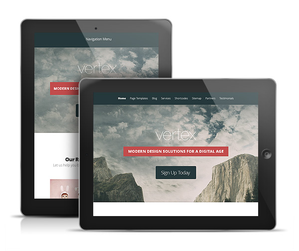 Vertex WordPress Portfolio iPad Theme