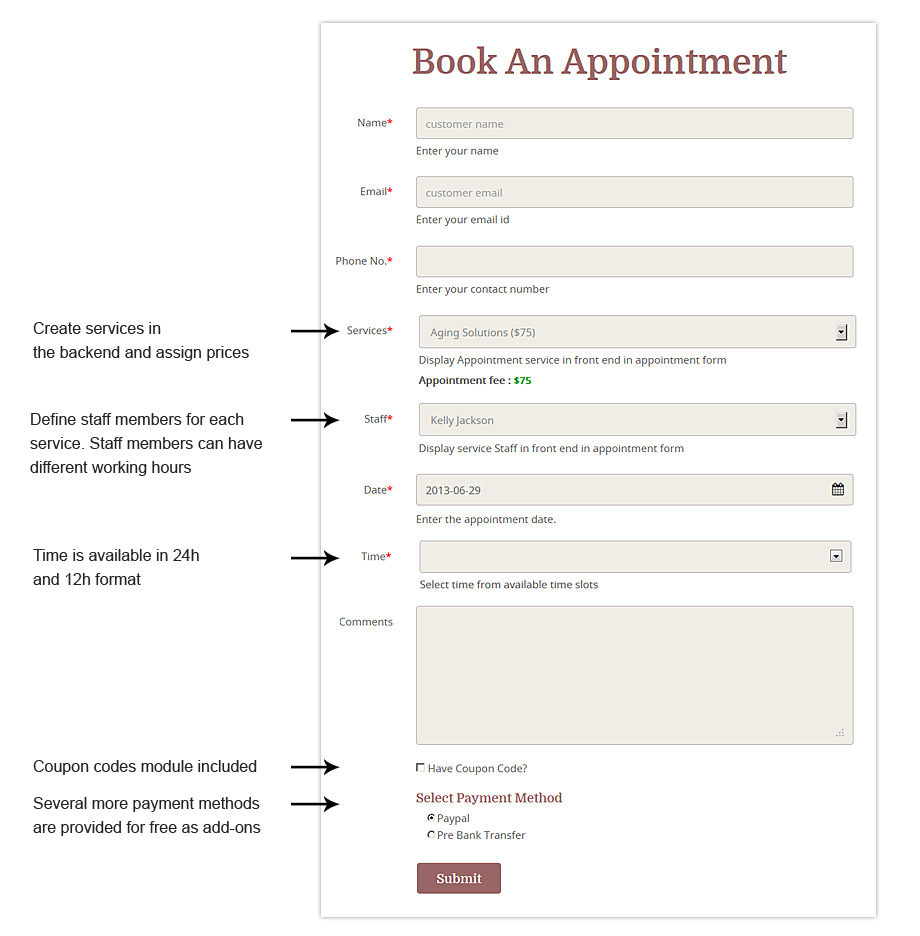 online booking form