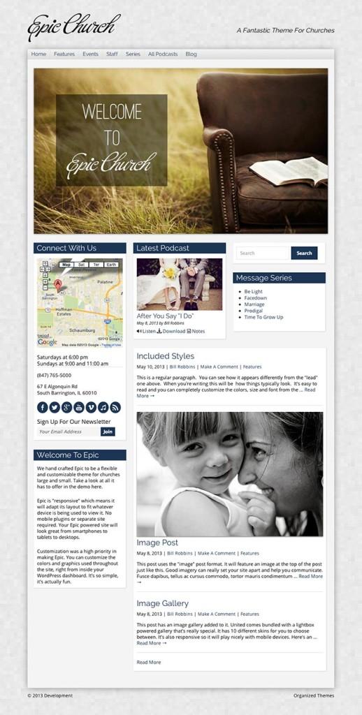 Epic 2.0 Churches WordPress Non-profit Theme
