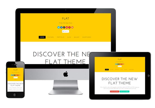 Flat Responsive WordPress Drag & Drop Builder Theme