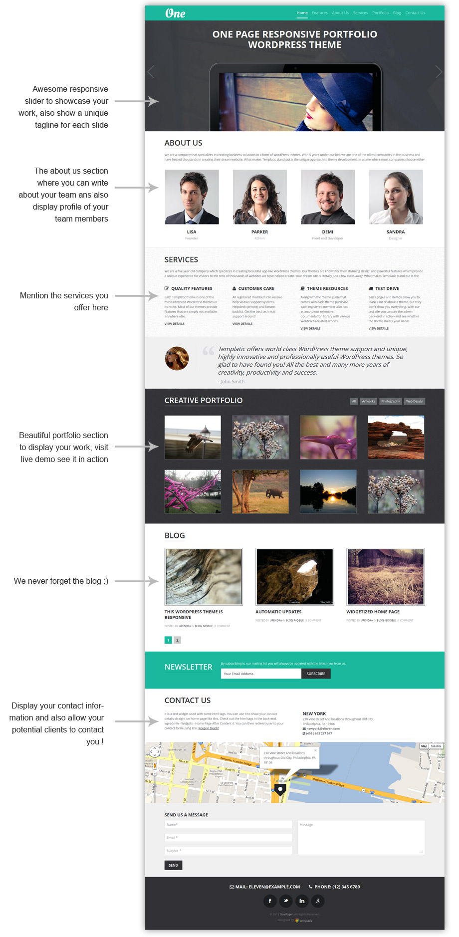 OnePager Responsive WP One Page Theme