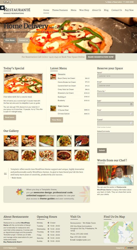 Restaurante Responsive WordPress Hotel Reservation Theme