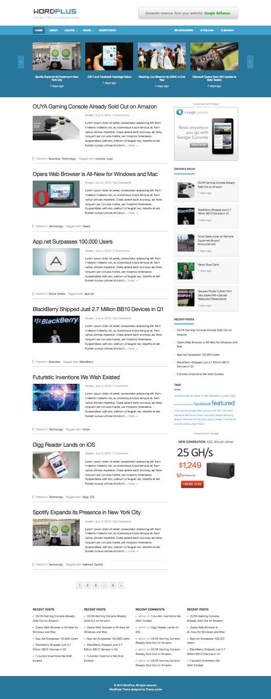 WordPlus Responsive WordPress Magazine Theme