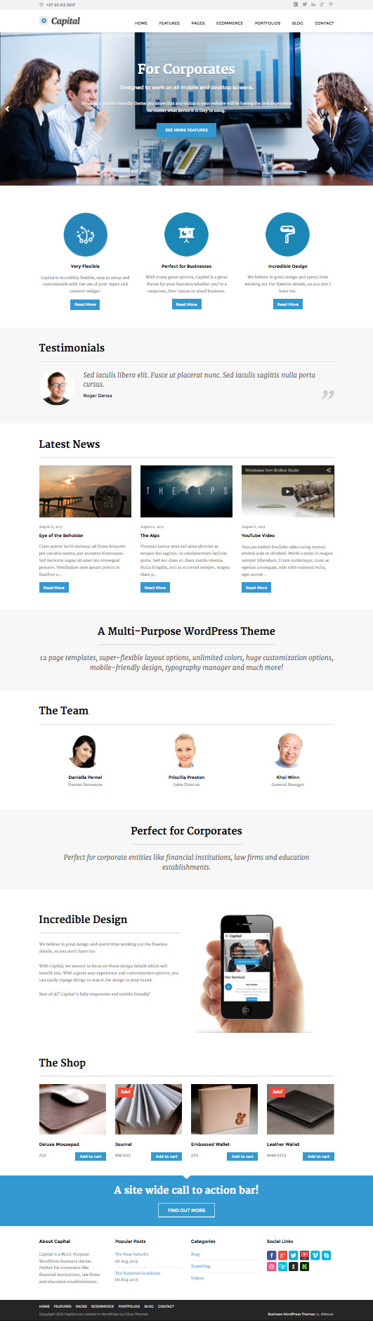 Capital WordPress Corporate Look & Feel Theme