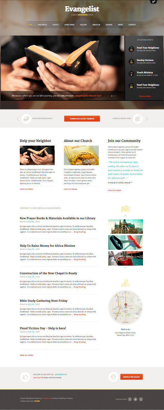 Evangelist WordPress Community Church Theme