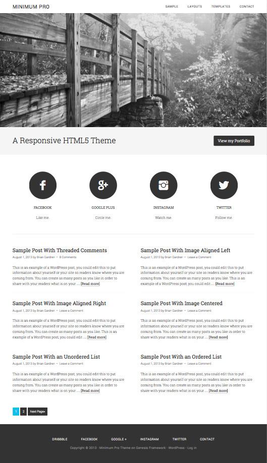 Minimum Pro HTML5 WordPress Schema.Org Markup Theme