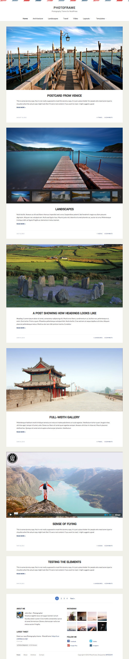 PhotoFrame WordPress Photographers Theme