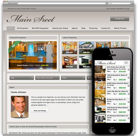 Main Street Responsive WordPress Real Estate Theme