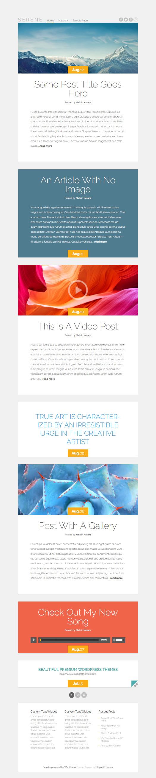 Serene Free Responsive WordPress Blogging Theme