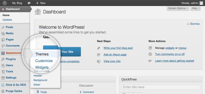 WP Admin Theme Install